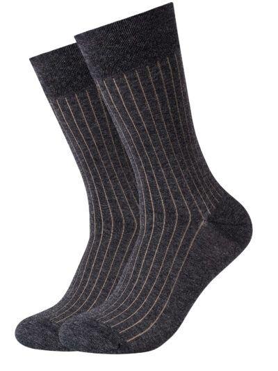 Camano Herren Socken ca-soft 2 Paar Grau Gerippt