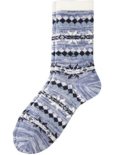 Camano Damen warme Haussocken Norweger Blau