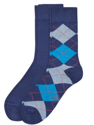 s.Oliver Herren Socken 2 Paar Blau Argyle-Muster