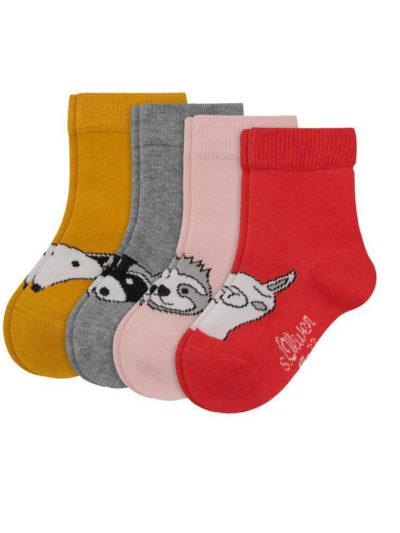 s.Oliver Baby Mädchen Socken 4 Paar Gelb-Rot-Rosa-Grau