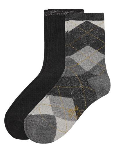 s.Oliver Damen Socken 2 Paar Argyle-Muster
