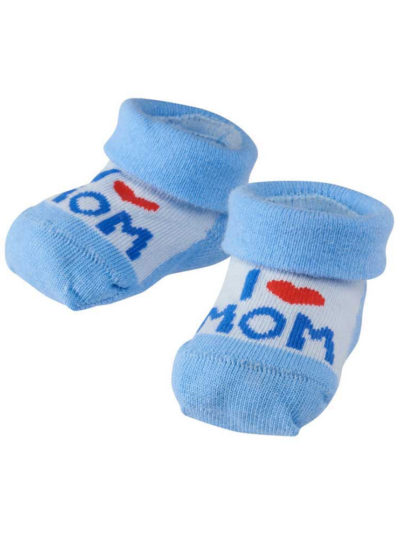 "Camano ""I Love Mom"" Baby Söckchen Hellblau in Herzbox"