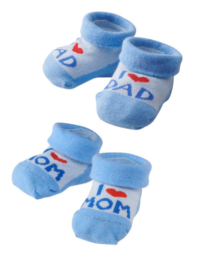 "Camano Baby Socken Herzbox ""I Love Mom & I Love Dad"" in Blau"