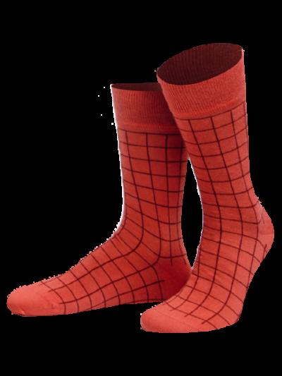 von Jungfeld Bars Dublin Socken Karierte Orange-Rot
