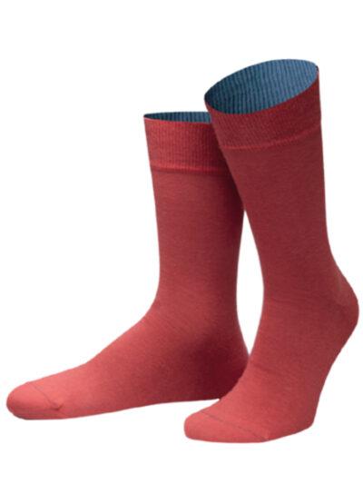 Dublin Socken von Jungfeld Herrensocken Korallfarbe