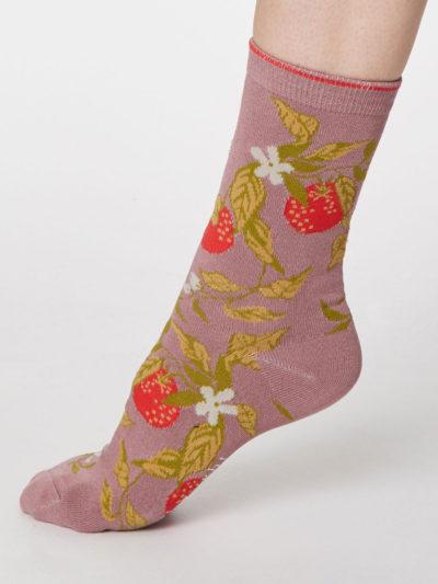 Thought Frutta Socken Himbeere Altrosa