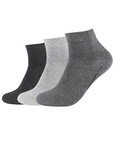 Camano Unisex ca-soft Sneaker Socken Quarter 3 Paar Grau