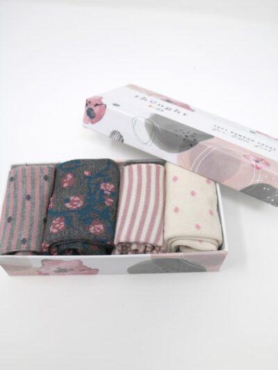 Thought Baby Socken Rose Floral Spot 4 Paar Geschenkbox
