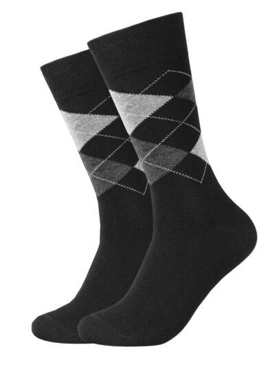 Camano Argyle Herren Socken ca-soft 2er-Pack Schwarz