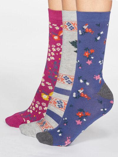 Thought Rozalia Floral Socken Blumenmuster 3er-Pack