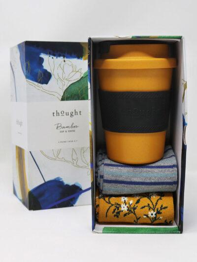 Thought Sunflower Bamboo Cup & Socks Geschenkset