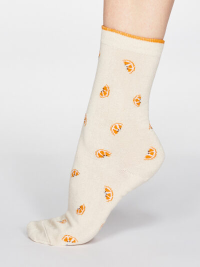 Thought Rowena Fruit Socken Creme Orangenmotiv