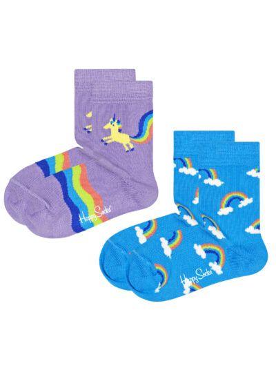 Happy Socks Kindersocken Einhorn Regenbogen 2 Paar